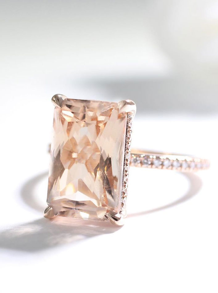Emerald cut morganite engagement ring - 11 These stunning engagement rings that make occasion more meaningful #engagement #solitaire
