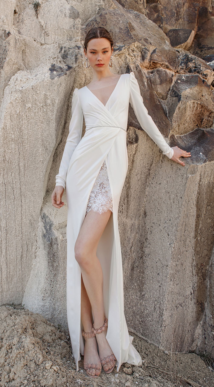 Long sleeve v neck sheath wedding dress - Eva Lendel 2019 wedding dresses