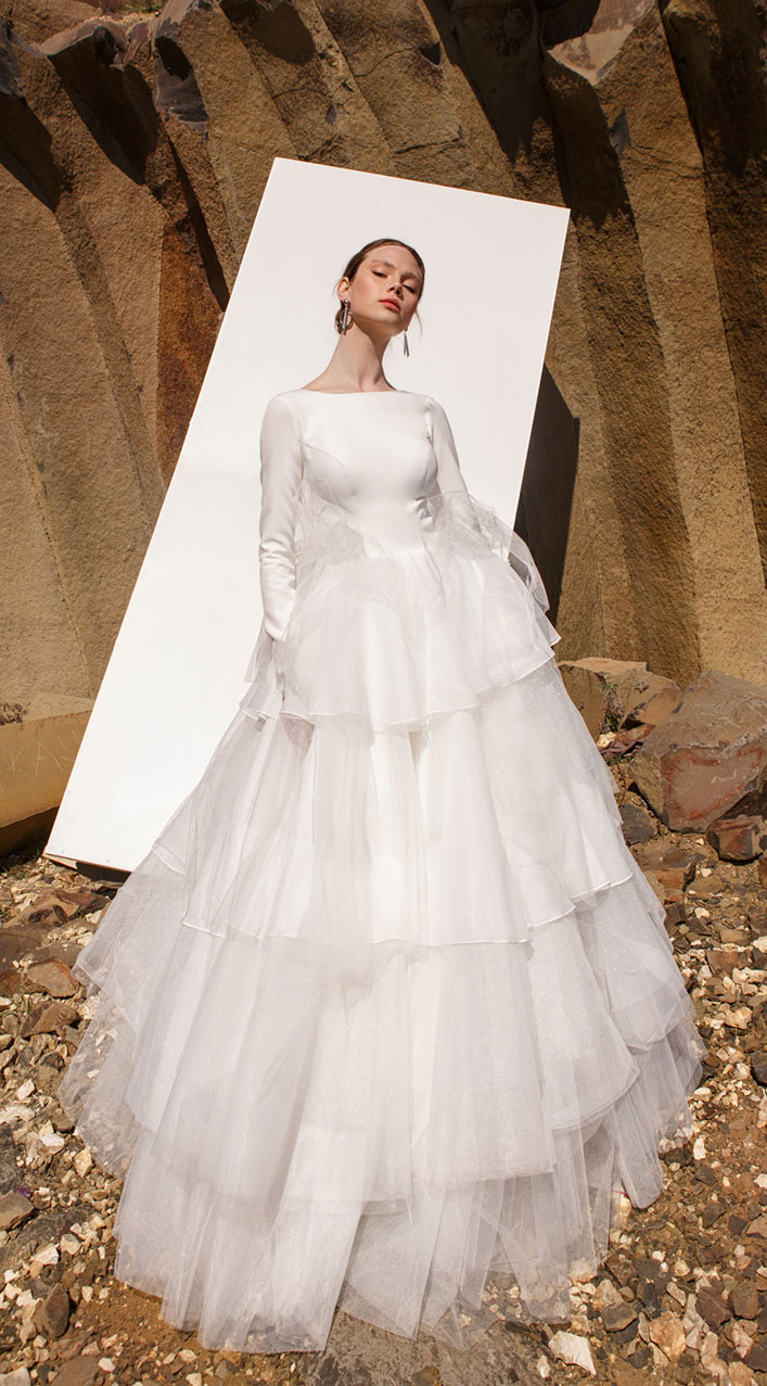 "Long sleeve layered skirt wedding gown - Eva Lendel Wedding Dresses ""Pure Essence"" 2019 Collection"