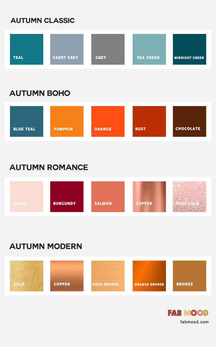 The Perfect Fall Wedding Color Combos for the 4 different styles of weddings ,autumn classic, autumn boho, autumn romance,contemporary, teal bronze burgundy