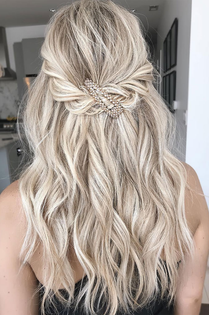 33 Amazing half up half down hairstyles for any occasion - Two twists + Big Clip , braid half up, fishtail braids , half up half down hairstyles #hairstyle #halfup #braids #weddinghair #promhair Boho hairstyles