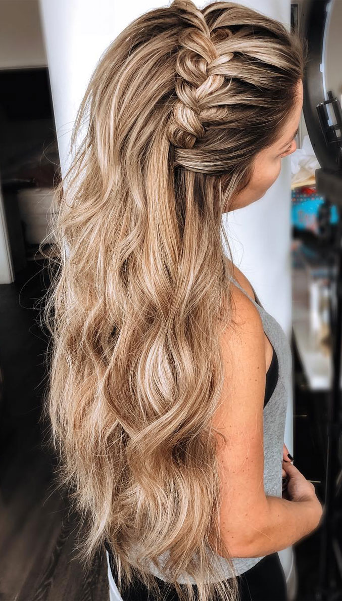 33 Amazing half up half down hairstyles for any occasion - braid half up, fishtail braids , half up half down hairstyles #hairstyle #halfup #braids #weddinghair #promhair Boho hairstyles