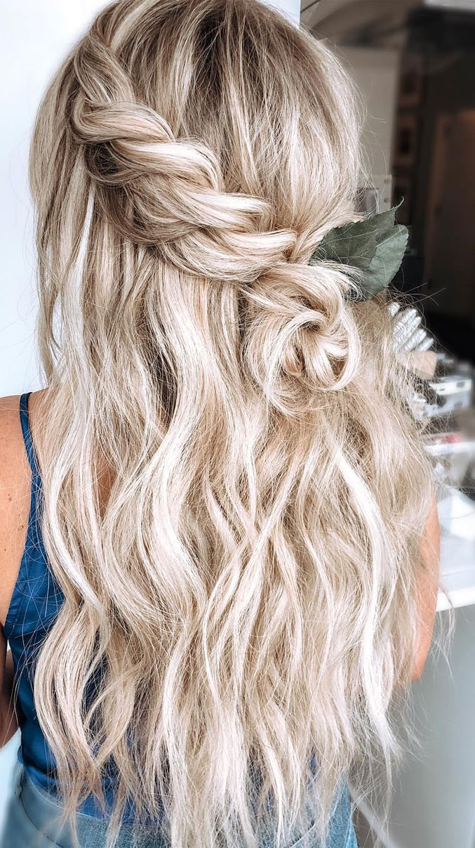 33 Amazing half up half down hairstyles for any occasion - braid half up #hairstyle #halfup #braids #weddinghair #promhair Boho hairstyles