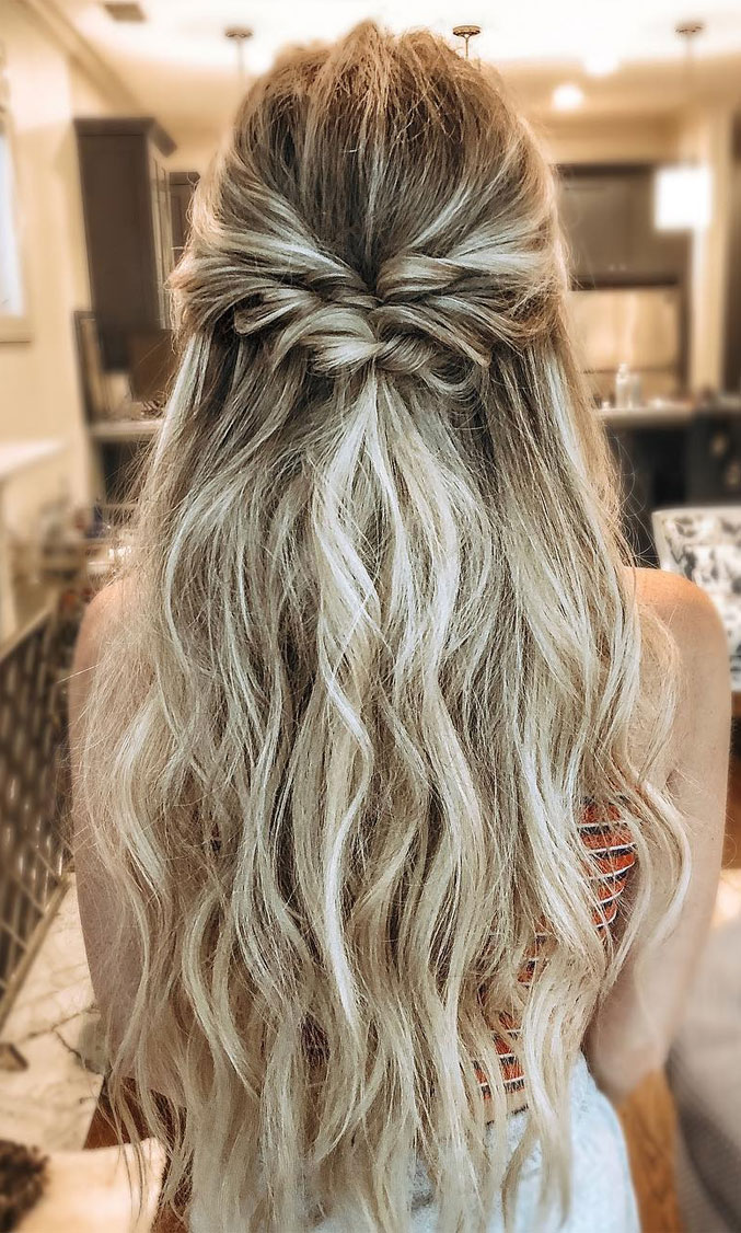 33 Amazing half up half down hairstyles for any occasion #hairstyle #halfup #braids #weddinghair #promhair Boho hairstyles