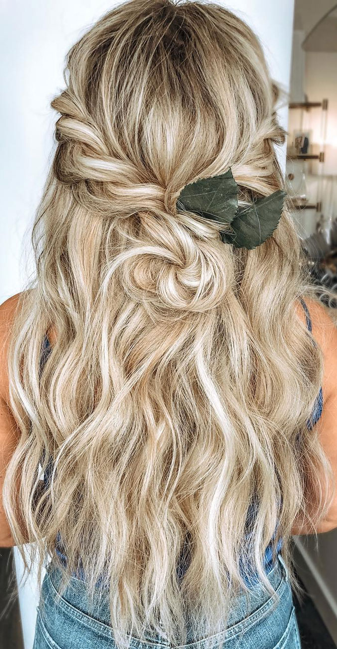 33 Amazing half up half down hairstyles for any occasion - Half Up + simple two twisty twists hairstyle #hairstyle #halfup #braids #weddinghair #promhair Boho hairstyles