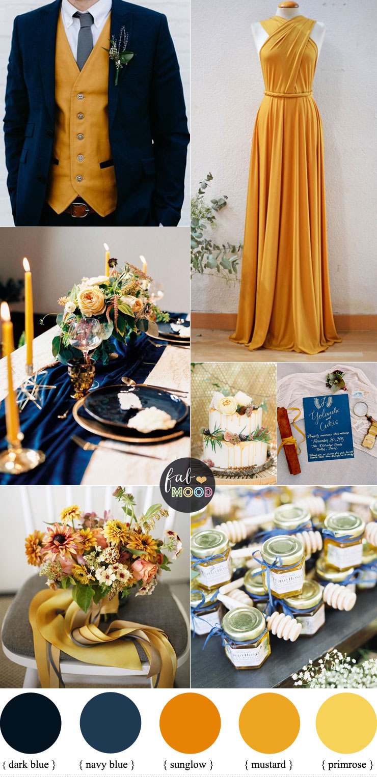 Beautiful fall color combinations of Mustard and Navy blue Color Combos { Primrose Yellow + Sunglow Yellow Pantone 2018 } #color #pantone #yellow #mustard #fallwedding #autumn #autumnwedding wedding