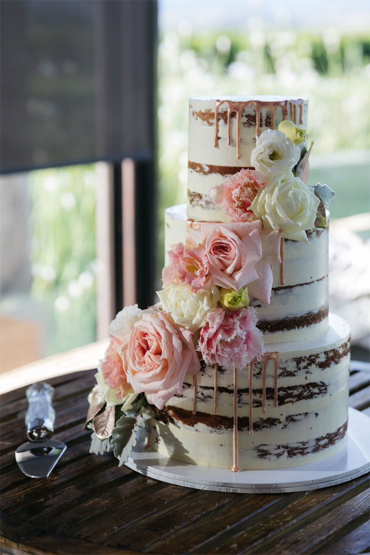 Semi-naked wedding cake -Soft Rose Pink and Rose Gold Colour For A Rich, Warm Rustic Italian Inspired Vibe Wedding