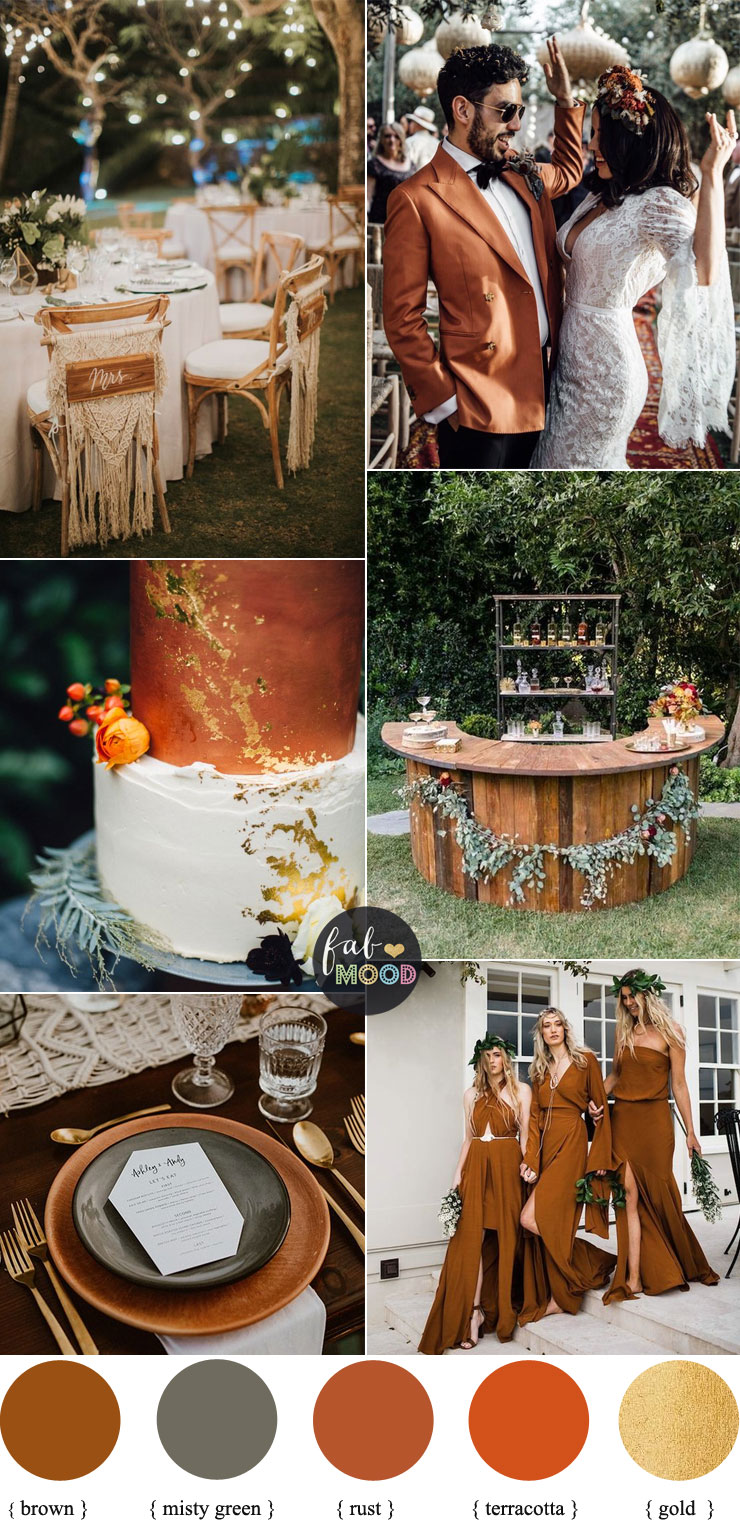 Terracotta Copper Fall Wedding Colors rust terracotta and green for boho fall wedding
