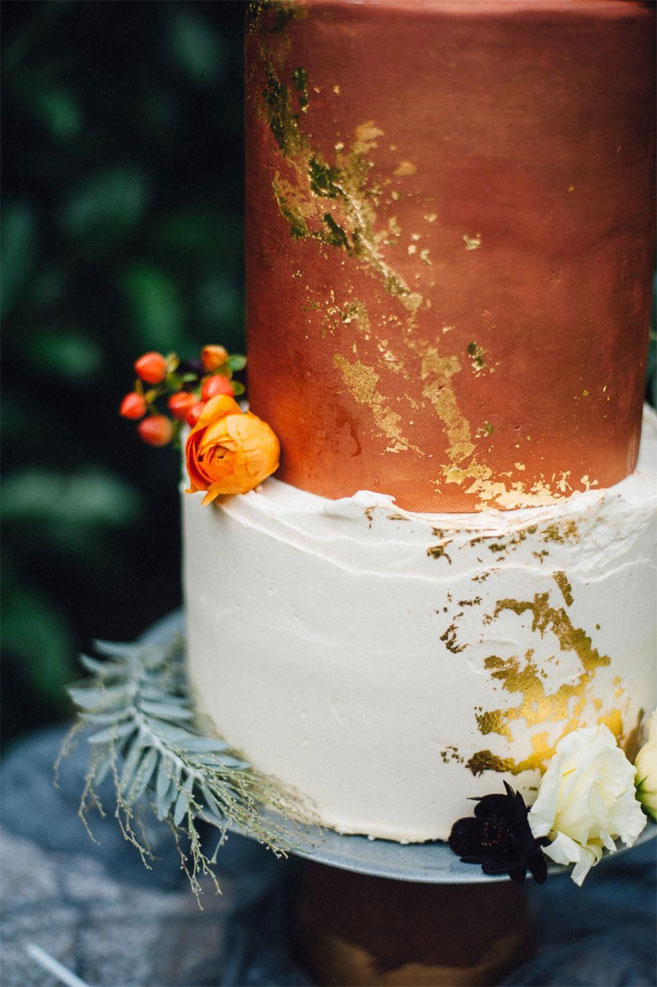 Amazing two tier wedding cake rust on top of white tier #weddingcake #fallwedding #autumn autumn wedding ideas