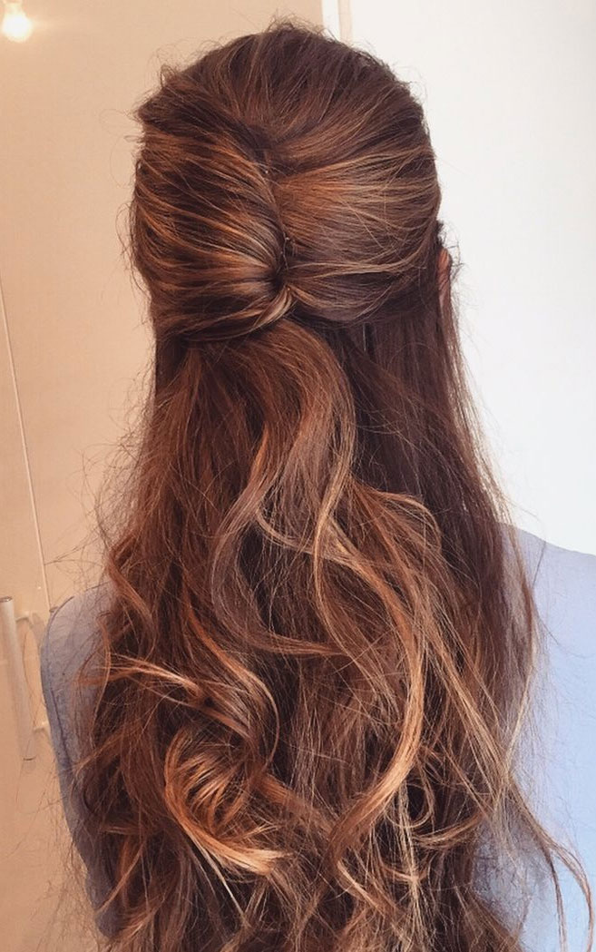 22 Best half up half down hairstyles - braid half up, fishtail braids , half up half down hairstyles #hairstyle #halfup #braids #weddinghair #promhair