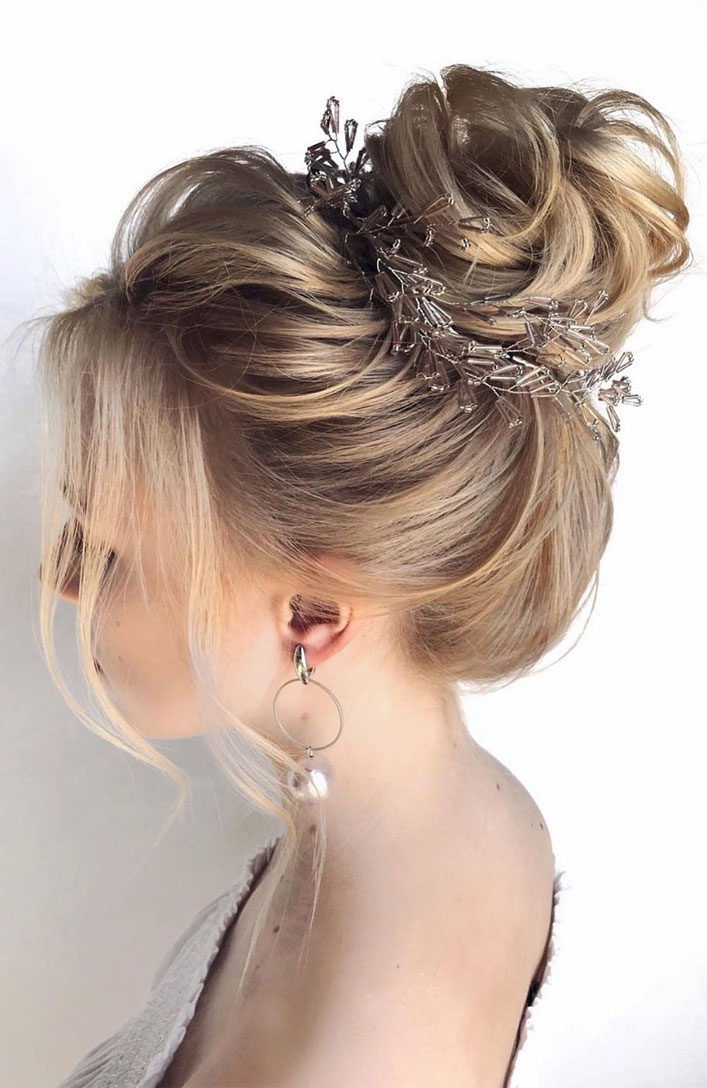 The Fabulous updo hairstyles for weddings - wedding hair #hairstyle #bridehair #wedding #updo #highbun messy updo hairstyle ideas