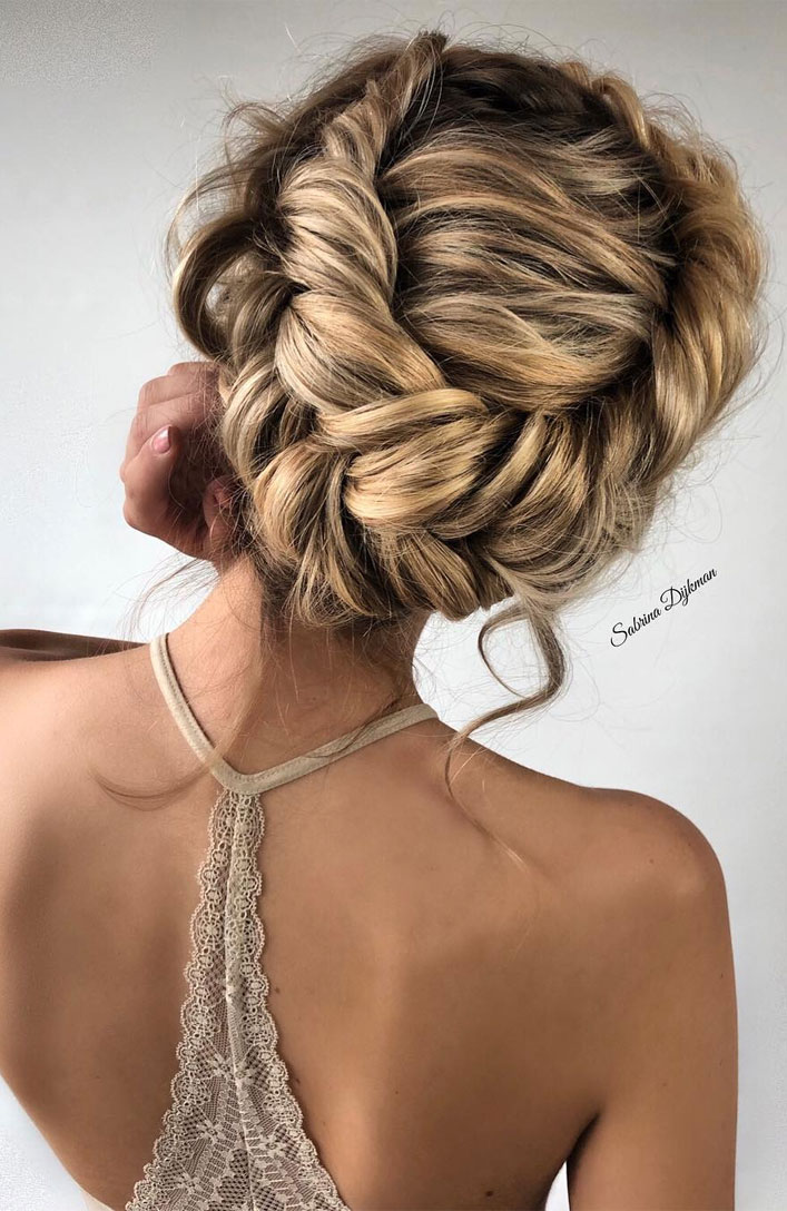 The Fabulous updo hairstyles for weddings - braided brown updo wedding hair #hairstyle #bridehair #wedding #updo #highbun messy updo hairstyle ideas