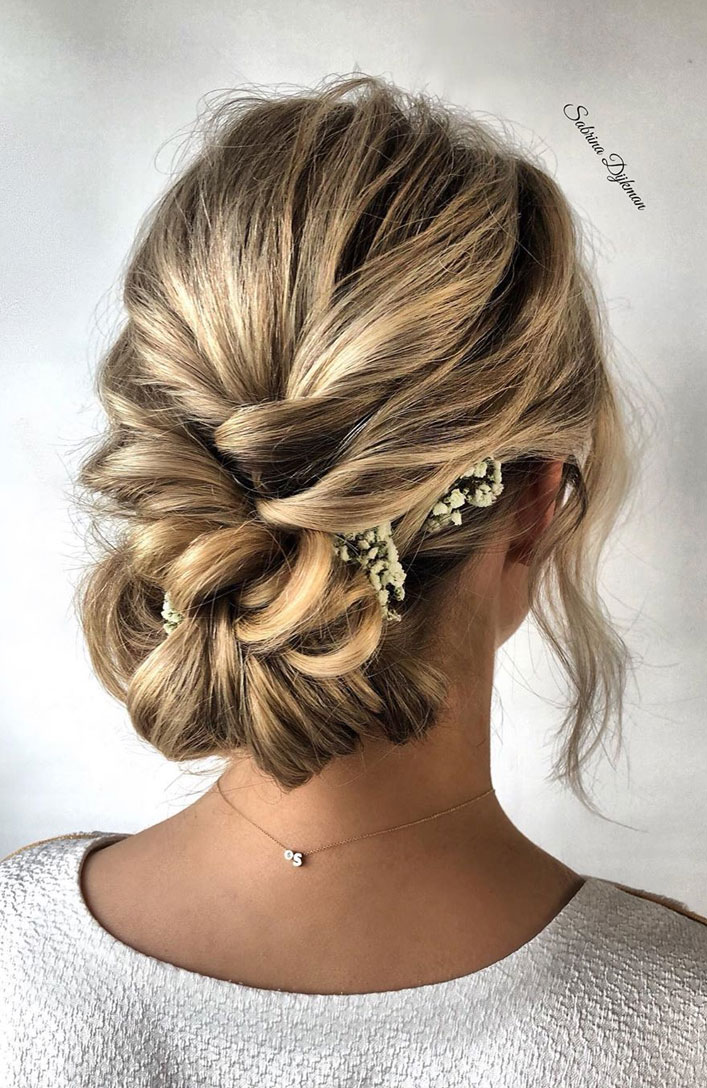 The Fabulous updo hairstyles for weddings - braided bun undone wedding hair #hairstyle #bridehair #wedding #updo #highbun messy updo hairstyle ideas