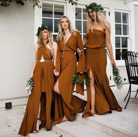 Mix & match bridesmaids' dresses in brown #boho bridesmaid dress brown bridesmaid dress