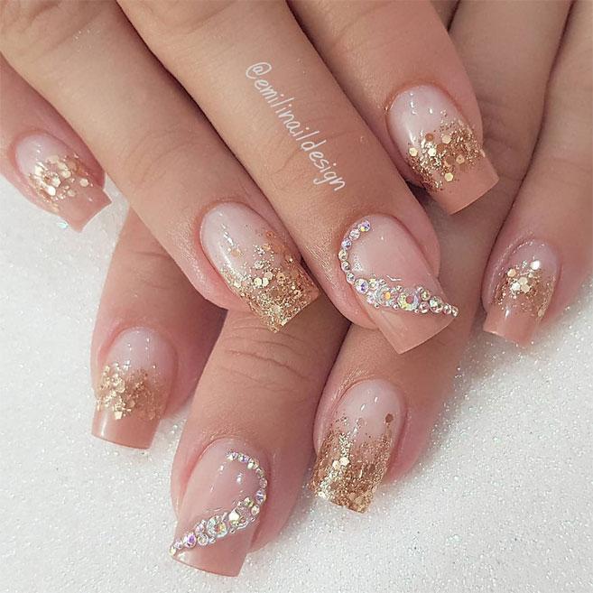 100 Beautiful wedding nail art ideas for your big day - wedding nails with glitter,bridal nails,nail art for wedding,nail ideas for bride,wedding nails natural,wedding nails,wedding nails bridesmaids, wedding nails i do,wedding nails french #nail #nailart #weddingnails #bridenails #nails