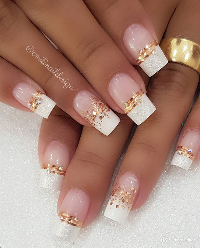 100 Beautiful wedding nail art ideas for your big day - wedding nails with glitter,bridal nails,nail art for wedding,nail ideas for bride,wedding nails natural,wedding nails,wedding nails bridesmaids, wedding nails i do,wedding nails french #nail #nailart #weddingnails #bridenails #nails