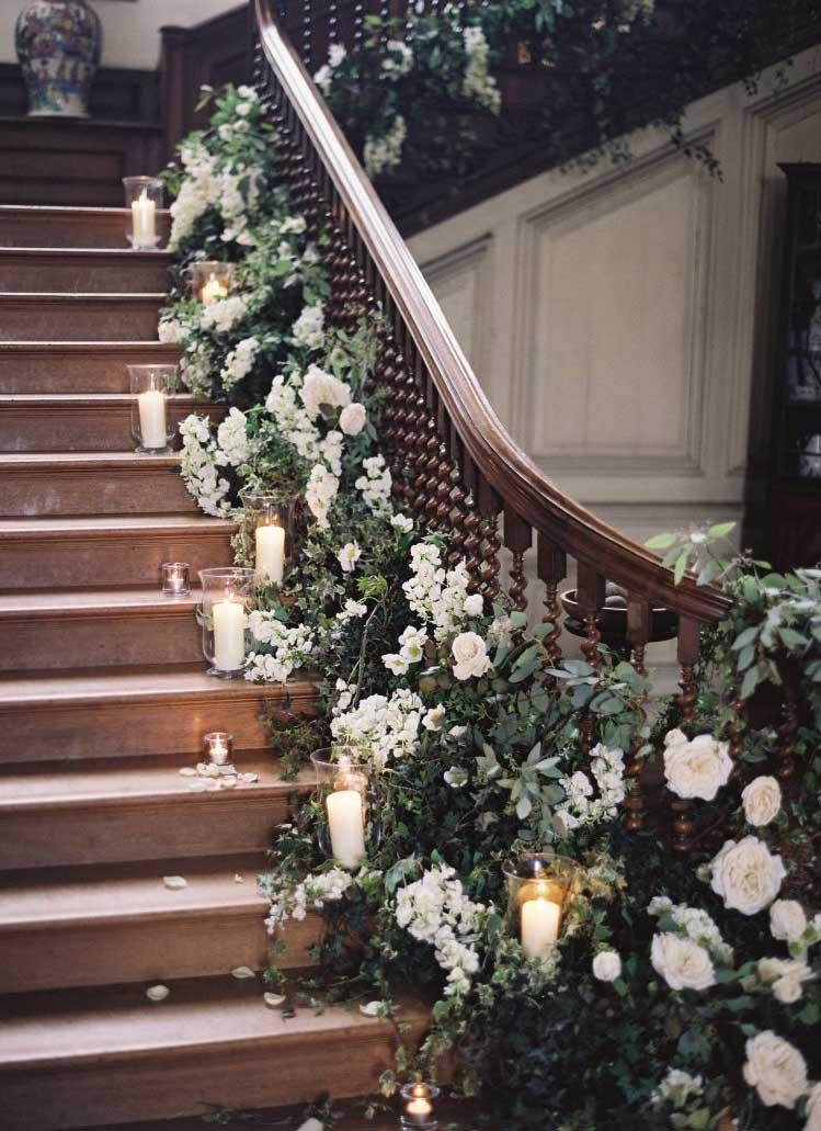 12 Fabulous wedding staircase decoration ideas - how to decorate a staircase with flowers ,staircase draping #weddingdecor #weddingstaircase #weddingdecorations #romanticwedding