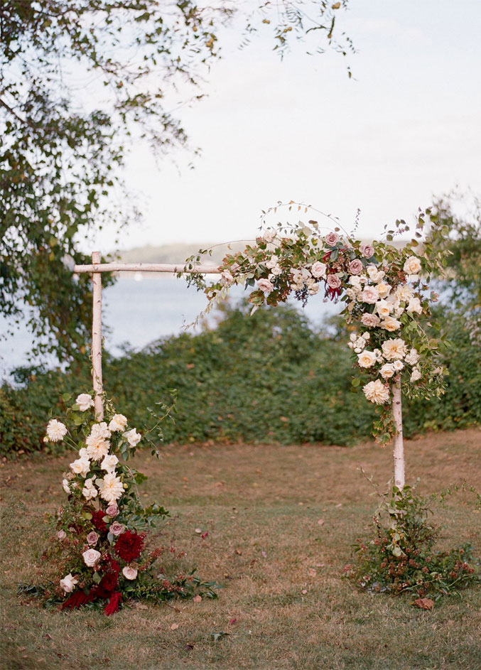 Birch Wood with blush and burgundy flowers Wedding Arch - Rustic Wedding Aisle Decor #fallwedding #autumn #weddingarch  wedding arbor