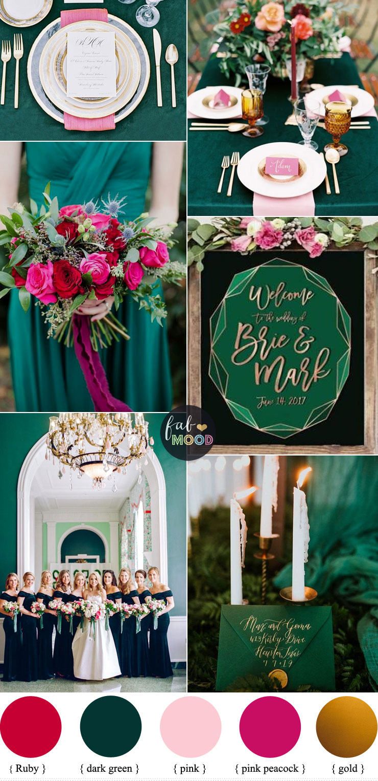 Dark Green + Pink + Ruby and Gold Color Palette for Autumn & Winter Wedding - emerald green + pink wedding coor scheme #color #winter #autumn wedding