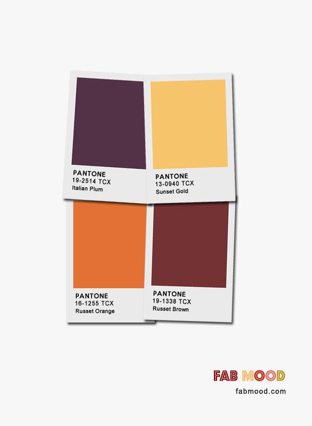Sunset Gold + Italian Plum + Russet Orange + Russet Brown : Pantone Color Palette #fall #color #pantone fall color inspiration #autumn
