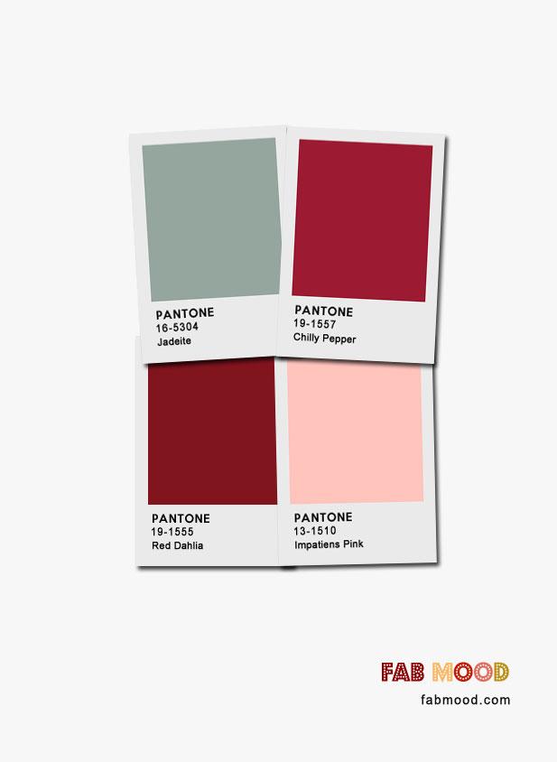 Jadeite + Red Dahlia + Impatiens Pink + Chilly Pepper : Pantone Color Palette #color #colors #fall #autumn #pantone
