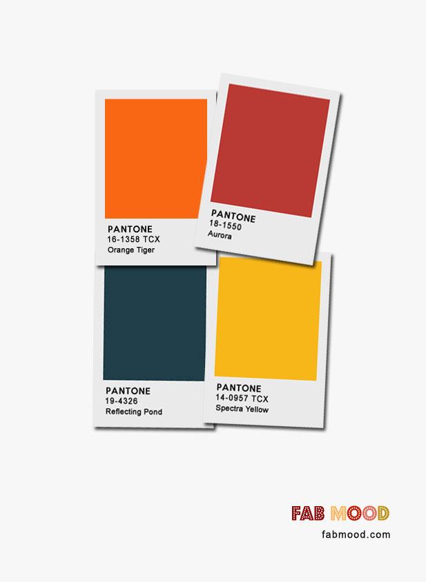 Reflecting Pond + Spectra Yellow + Orange Tiger + Aurora : Pantone Color Palette #color #pantone #colorinspiration #fallcolor #autumn