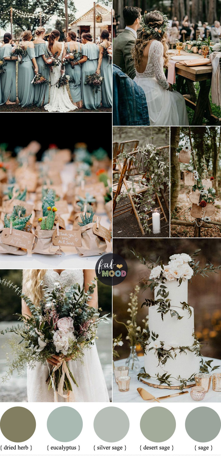 Sage green wedding colour for down to earth wedding - Summer wedding #summer #colour #color #pantone #sage #green