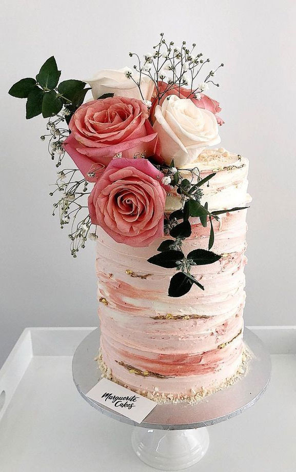 The prettiest floral wedding cakes for any season - A single tier wwirled vanilla ombre pink buttercream #weddingcake #seminakedweddingcake