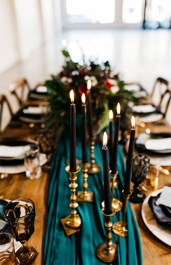 Beautiful jewel toned wedding table decoration