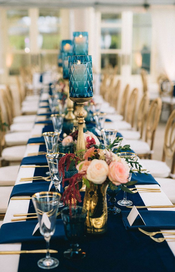 Beautiful jewel toned wedding table decoration