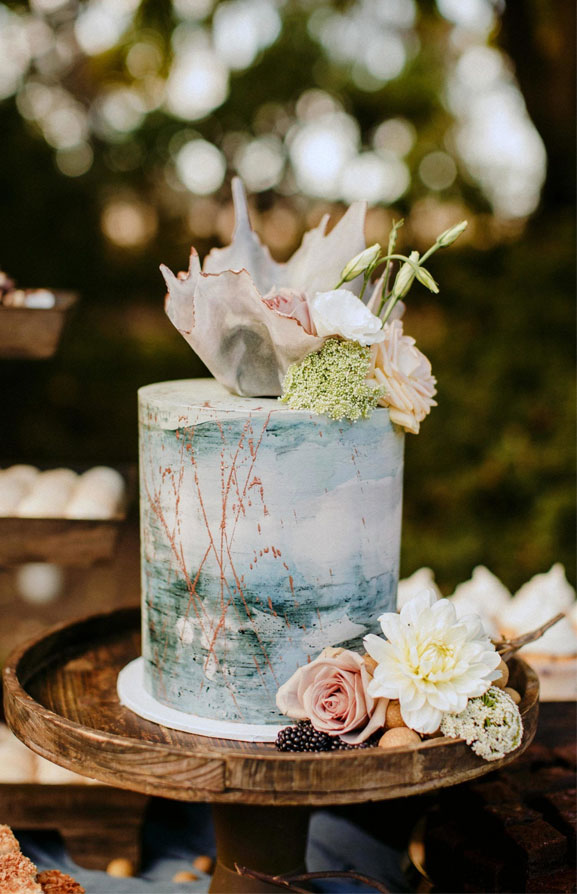 Water color wedding cake