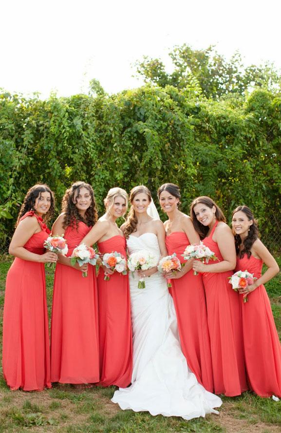 9 Living Coral Bridesmaid Dresses { Pantone Color Of The Year 2019 } bridesmaid dress , peach bridesmaid dress , orange bridesmaid dresses #pantone #summer #summerwedding #bridesmaiddresses