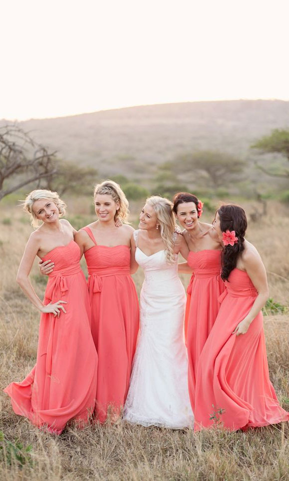 9 Living Coral Bridesmaid Dresses { Pantone Color Of The Year 2019 }