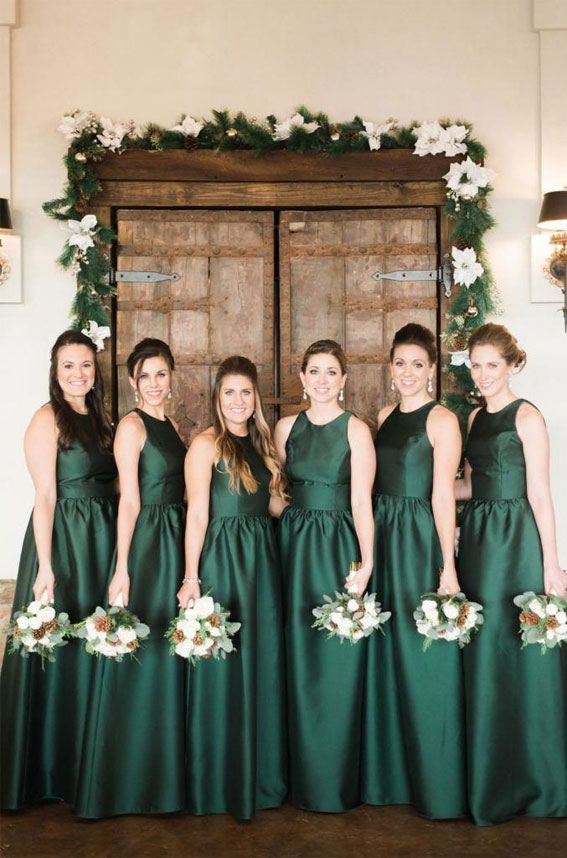Green emerald bridesmaid dresses - white bouquets #bouquet #winterwedding #bridesmaids