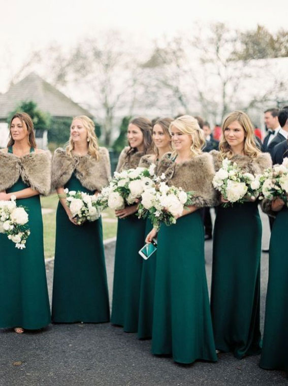 White And Green Emerald Wedding Colours For Winter Wedding