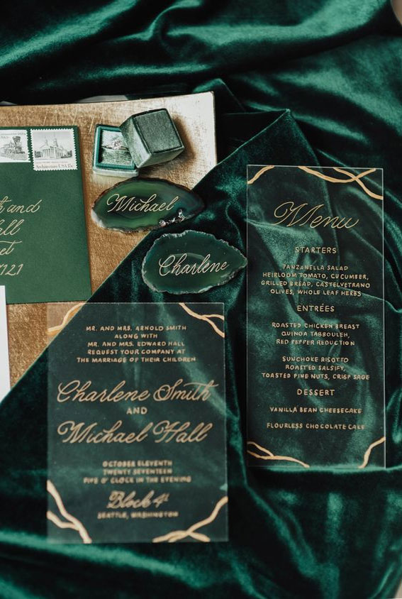 Green and gold wedding invitations #invitations wedding stationery