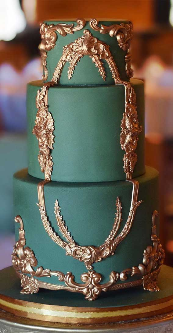 opulent wedding cake, green and gold wedding cake