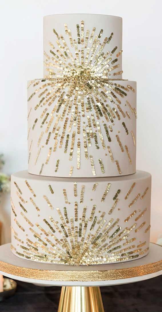sequin wedding cake, gold sequin wedding cake, elegant wedding cake