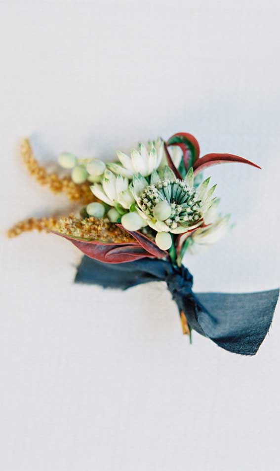 autumn boutonnieres , fall boutonnieres