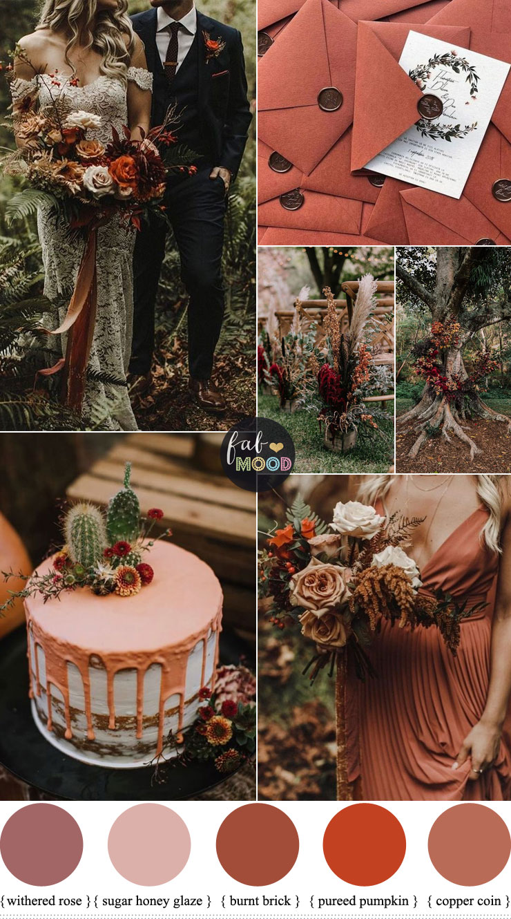 Find out what color looks best with rust? Beautiful color palette rust color combinations, included rust color names, dark rust color #fallwedding #autumnwedding #pantone #color #rust