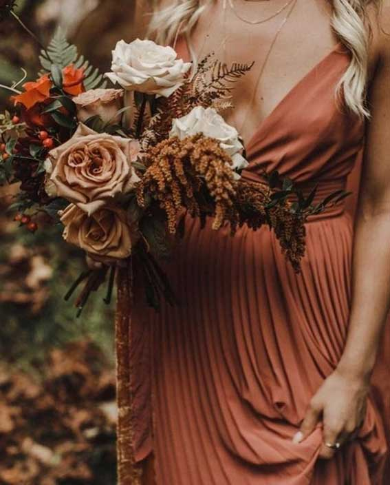 Beautiful autumn wedding bouquet in rust color combinations, bridesmaid bouquet ,rust bridesmaid
