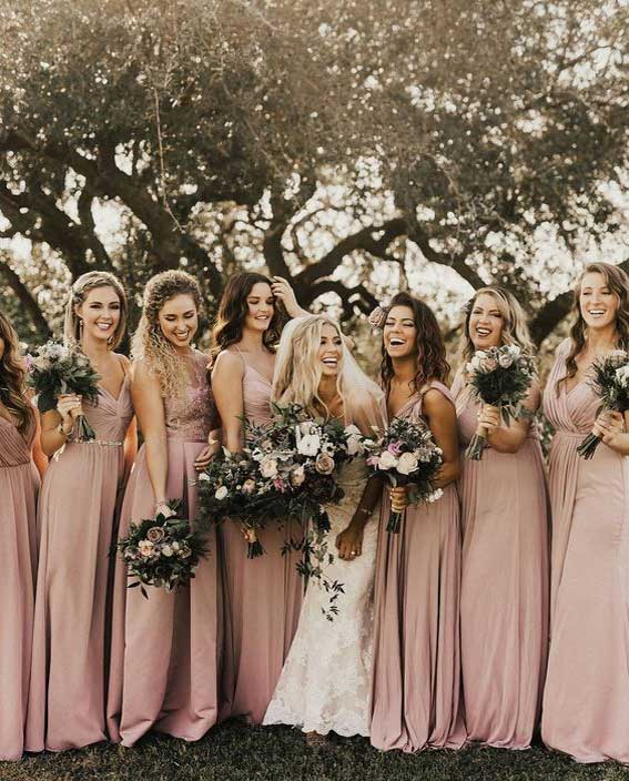 Dusty rose bridesmaid dress for fall wedding