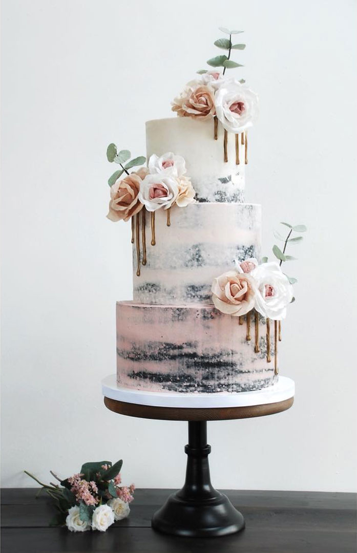 22 The most beautiful wedding cakes with floral -  Semi naked buttercream wedding cake #weddingcake #wedding #cakeideas wedding cake with flowers