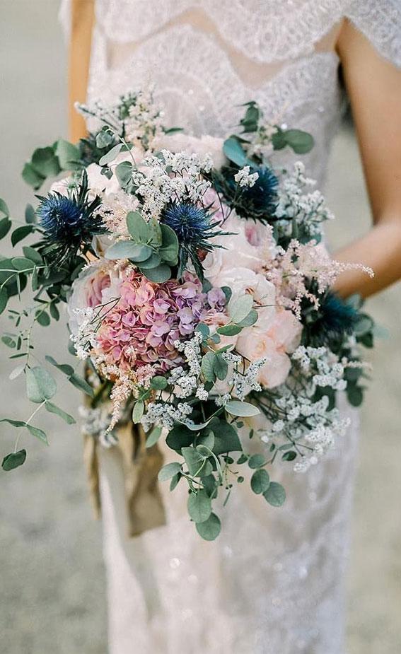 blue wedding bouquet, wedding bouquet, bridal bouquet, blue bridal bouquet