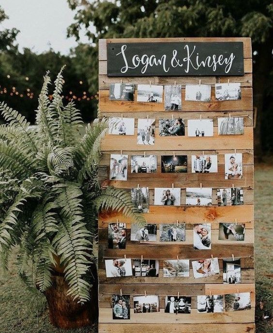 Wedding photo display ideas - rustic wedding ideas