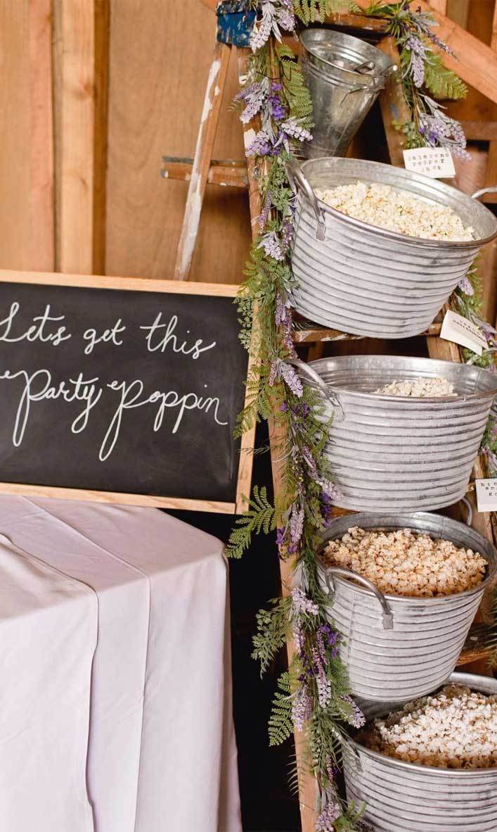 19 Unique ways for a budget friendly wedding - Popcorn bar wedding ideas #weddingdecor #weddingideas #ceremony
