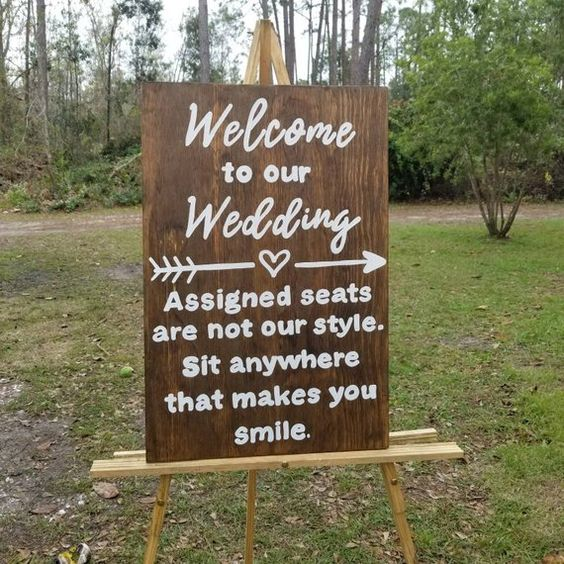 Wedding seat sign - wedding ceremony decor