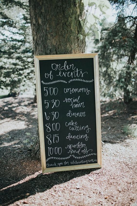 Wedding Program on big black board