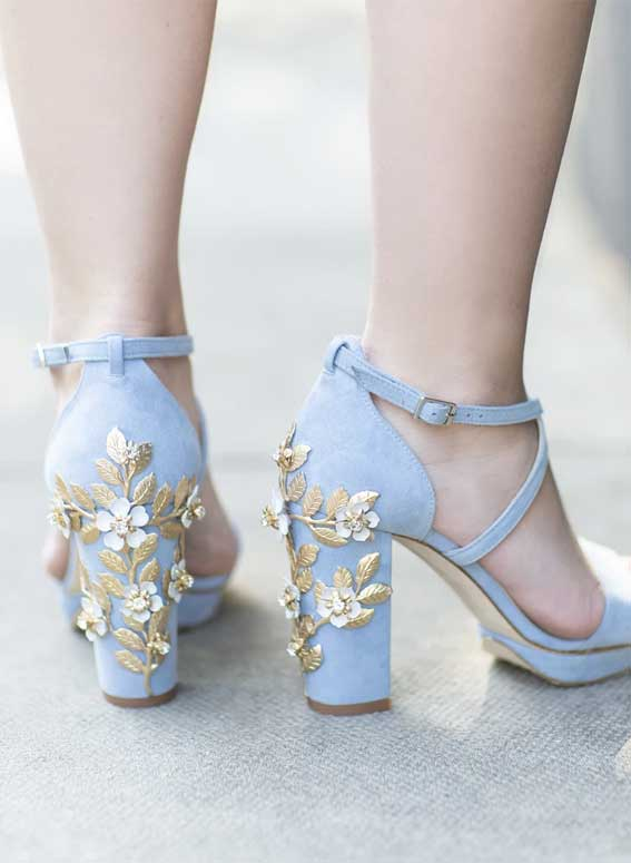 blue wedding shoes, blue bridal heels, blue and gold wedding shoes