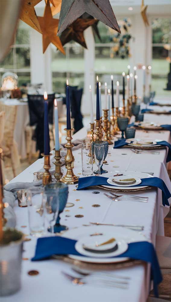 wedding table decoration, blue and gold wedding table, elegant wedding table, blue and gold wedding table decor, blue and gold wedding theme